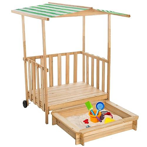 TecTake Bac à sable maison pour jouer véranda bois protection solaire toit couverture - diverses couleurs au choix - (Vert | No. 400914)