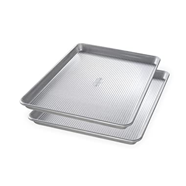 USA Pan Bakeware 1300ST Half Sheet Pan, Set of 2, Aluminized Steel