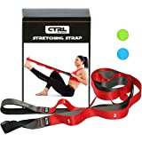 Stretching Strap with Loops for Physical Therapy, Yoga, Exercise and Flexibility - Non Elastic Fitness Stretch Band + Exercis