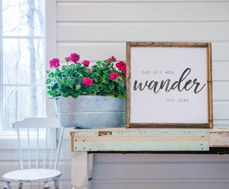 Wood Framed Signboard - Wander - Square - 26x26 – Smallwood Home