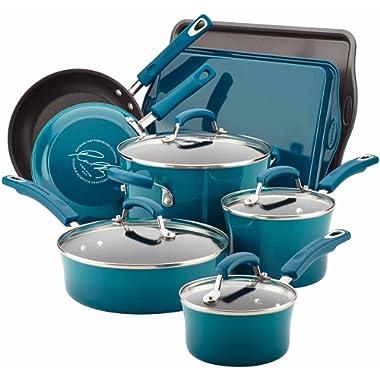 Rachael Ray Hard Enamel Nonstick 12-Piece Cookware Set, Blue