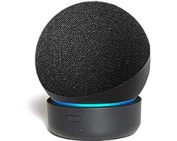 Base de bateria Alexa Echo Dot 4ª geração, GGMM D4 Tornar Amazon Dot 4 portátil, Pode jogar por 7 horas, Preto 5200mAh (Apena