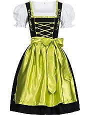 Gaudi-Leathers Dirndl Set 3 Teilig, Trachtenkleid, Dirndl Bluse, passender Schürze in verschiedenen Farben