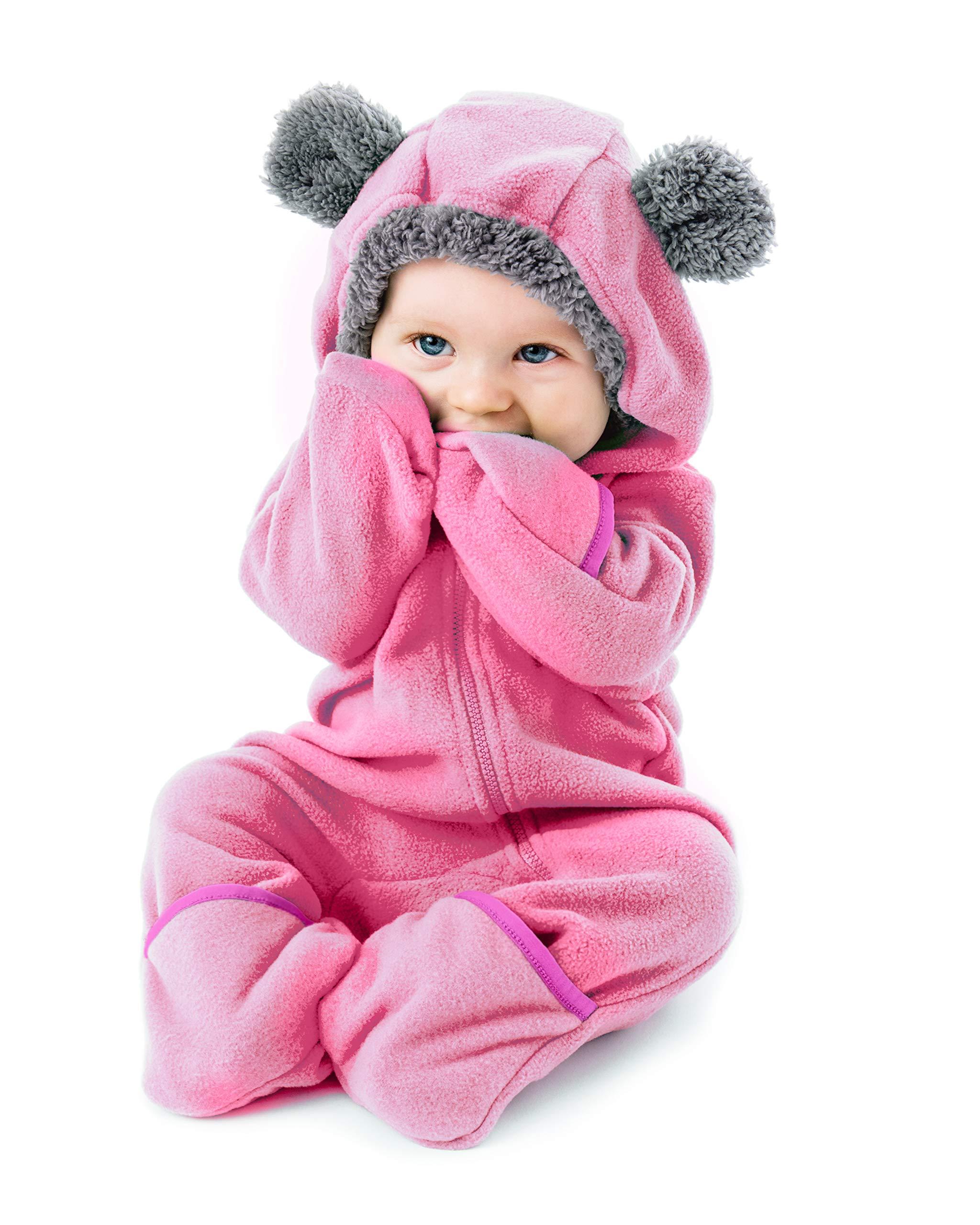UNIQUEONE Infant Winter Snowsuit Baby Bear Outfit Fleece Bunting Pram Suit Outerwear Coat with Ears