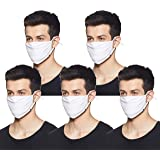 Stylore Pack of 5 Cloth Face Masks| 2 Layer| Washable| Reusable| Adjustable Ear-Loops| Comfortable & Breathable Cotton-Spande