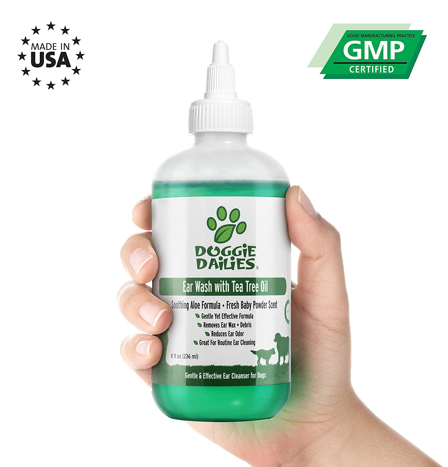 Doggie Dailies Pet Ear Cleaner Plus Tea Tree Oil, Witch Hazel & Soothing Aloe, Vet Formulated Ear Drops for Dogs & Cats, Gently Removes Wax & Debris, Reduces Odour, and Helps Prevent Mites & Infections