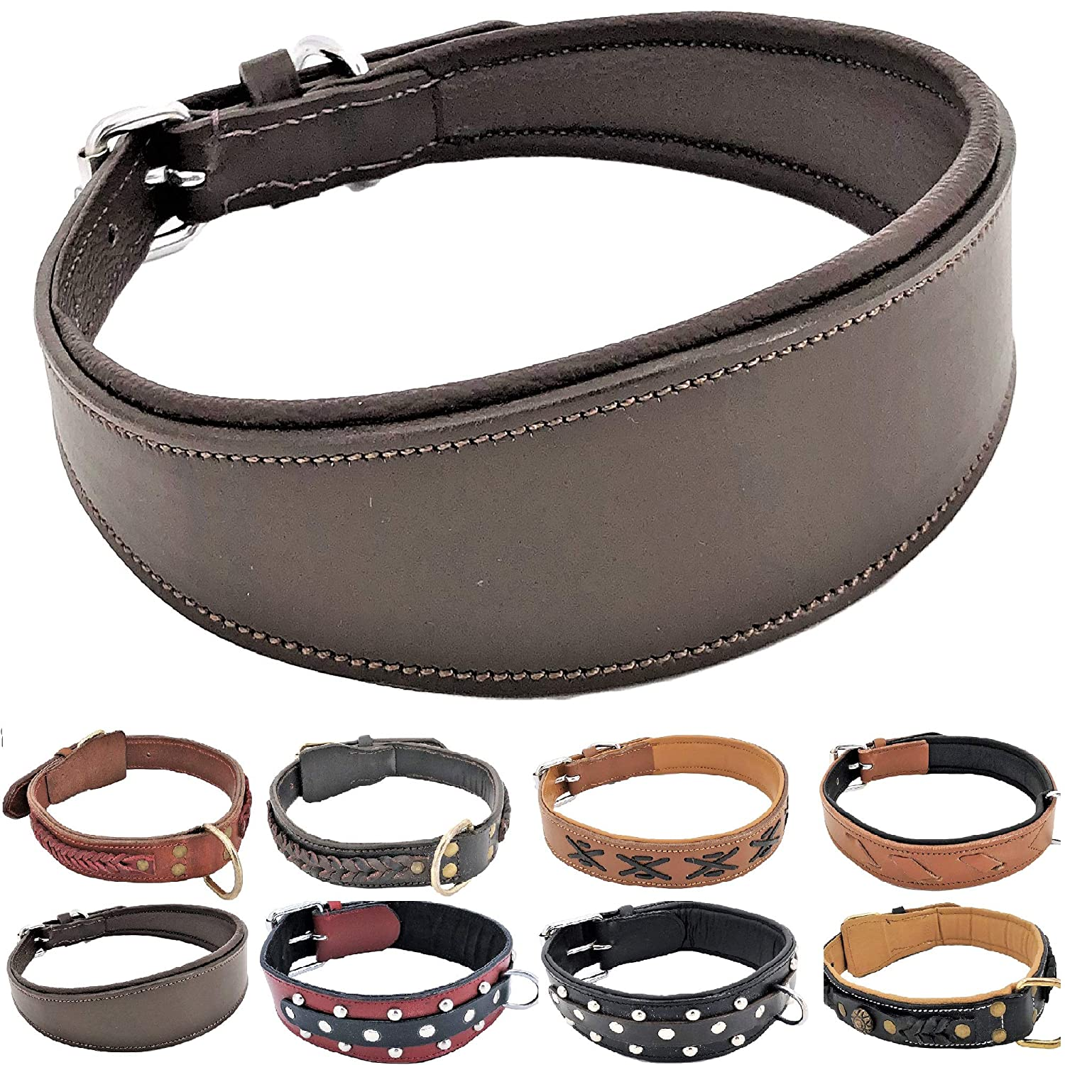 Brown Padded Oval M  Neck 13\ Brown Padded Oval M  Neck 13\ FDC Genuine Real Leather Dog Collar Metal Buckle Handmade for Medium and Large Breeds (Brown Padded Oval, M  Neck 13  16 )