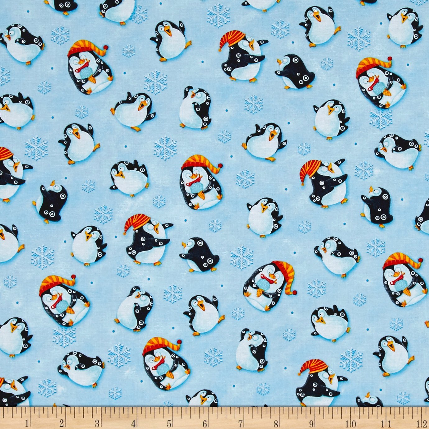 Penguin Parade Little Penguins Light Blue Fabric By The Yard
