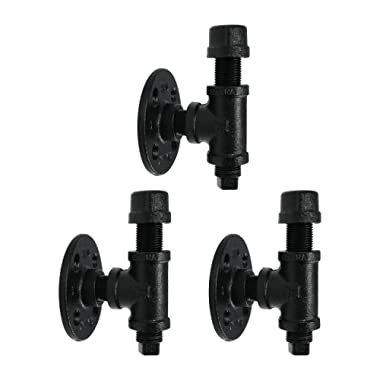 Robe And Towel Single Hook Kit by Pipe Decor | Heavy Duty DIY Style, Rustic and Chic Industrial Iron Pipe With Electroplated Black Finish, Wall Mounted, Mounting Hardware Included, Oil + Rust Free (3)