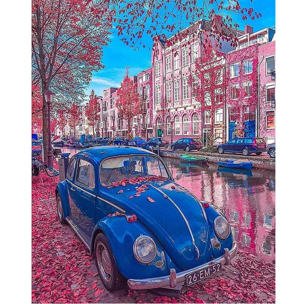 Avec Cadre 4050cm Waofe voiturethame Bleu Voiture Diy Peinture Par Numéros 24 Couleur PigHommest Brush Painting Art Peinture à L'Huile Peint à La Main Numérique- No Frame