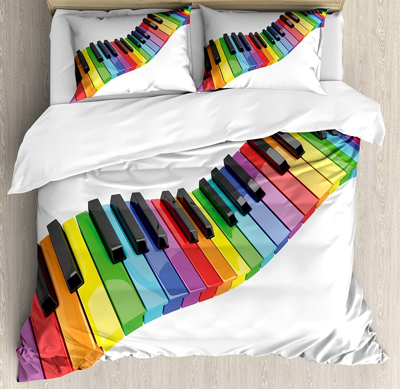 Multi 1 Twin Music Duvet Cover Set Twin Size, Vibrant colord Piano Keyboard Wave Musician Arts Entertainment Harmony Instrument,Lightweight Microfiber Duvet Cover Sets, Multicolor