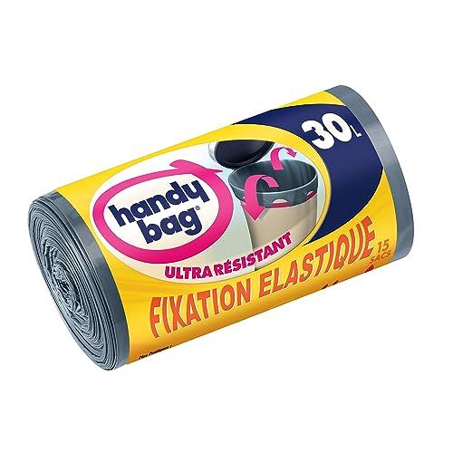 Handy Bag 2 Rouleaux de 15 Sacs Poubelle 30 L, Poignées Coulissantes, Fixation Élastique, Ultra Résistant, Anti-Fuites, 53 x 63 cm, Gris Foncé, Opaque