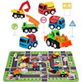 "Construction Toys with Play Mat, Engineering Vehicles Set Include 6 Construction Trucks, 4 Road Signs, 14"" x 18"" Playmat, Pul"