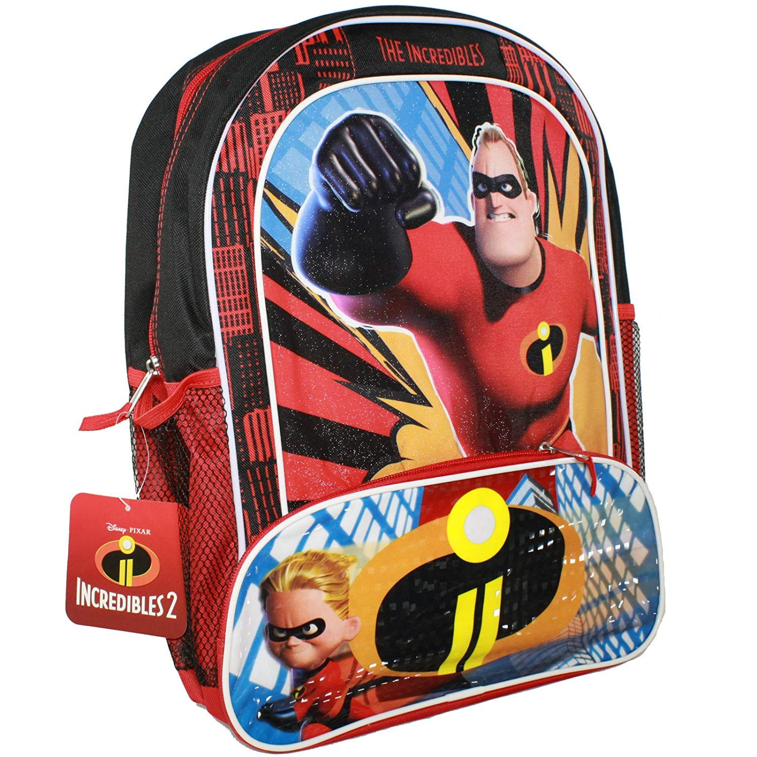 Disney Pixar The Incredibles 2 Movie Dash and Mr. Incredible Book Bag for Back to School  16 Inches