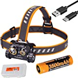 Fenix HM65R 1400 Lumen Spot and Flood Dual Beam USB-C Rechargeable Headlamp with 3500mAh Battery and LumenTac Battery Organiz