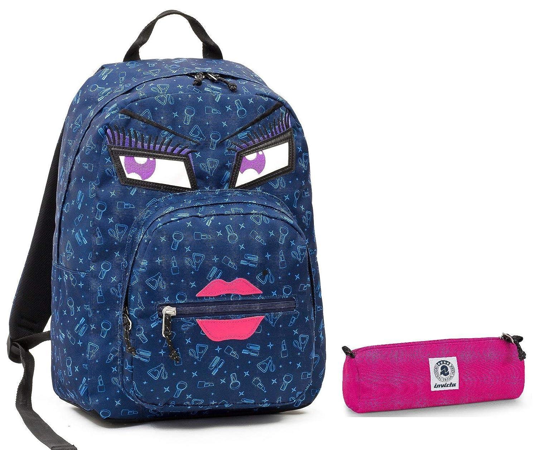48f52a101a Invicta Zaino Ollie Pack Pack Pack Face + Portapenne - Blu Kiss - Tasca  Porta pc Padded - Scuola e Tempo Libero Americano 25 LT - Idea Regalo  Natale 8b12bd
