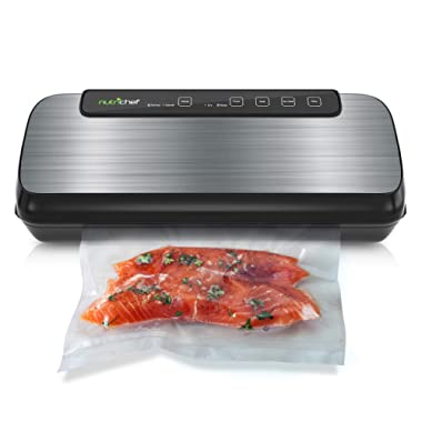 Vacuum Sealer By NutriChef | Automatic Vacuum Air Sealing System For Food Preservation w/ Starter Kit | Compact Design | Lab Tested | Dry & Moist Food Modes | Led Indicator Lights (Stainless Steel)