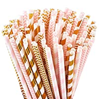 ALINK Biodegradable Paper Straws, 100 Pink Straws/Gold Straws for Party Supplies...
