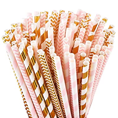 ALINK Biodegradable Paper Straws, 100 Pink Straws/Gold Straws for Party Supplies, Birthday, Wedding, Bridal/Baby Shower Decorations and Holiday Celebrations