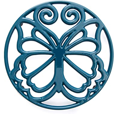The Pioneer Woman Timeless Beauty Butterfly 8 Inch Cast Iron Enamel Trivet by The Pioneer Woman (Blue)