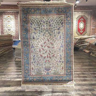Yuchen Carpet 3'x4.5' Oriental Silk Blue Area Rugs For Home Deco