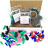 124 Piece High Temp Silicone Plug, Cap, Masking Tape and Hook Assortment - Complete Masking System Kit for Powder Coating, Pa