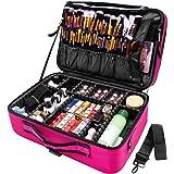 joyroom Large Makeup Bag 3 Layers Professional Train Cosmetic Bag Makeup Organizer Case 15.7 inches Portable Artist Storage B