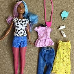 Barbie Fashionistas Petite Blue Violet Doll Denim Shorts w Tights Fit Skipper