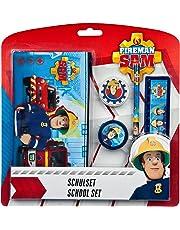Undercover FSTU6471 - Feuerwehrmann Sam Schreibset, für die Schule mit Schlamperetui, Bleistift, Radierer, Spitzer und Lineal, 5 teilig