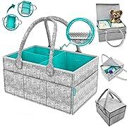 AURORA'S Baby Diaper Caddy Organizer with Cover - Newborn Shower Gift Basket for Mom Dad Bonus - Nursery Diaper Caddy Storage Bin - Portable Car Travel Organizer - Newborn Registry Must Have