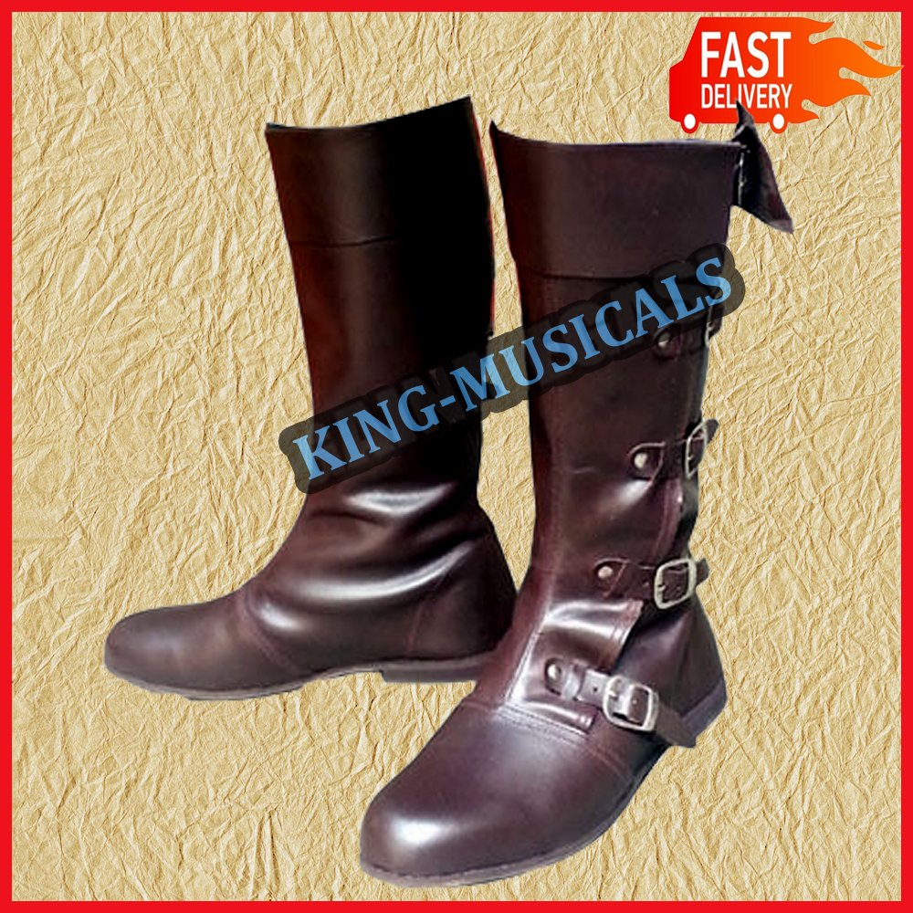 NASIR ALI - Botas Medievales de Piel, Piel, Piel, Calzado de reincorporación para Vikingo, Zapatos Largos, Color marrón b74516