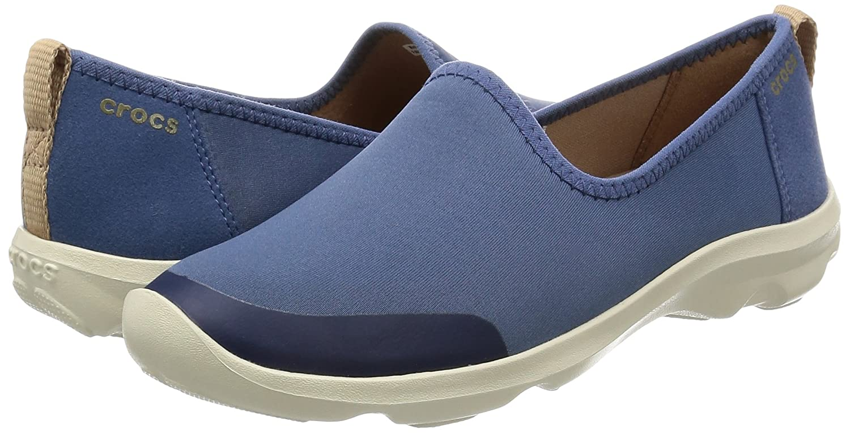 Crocs Women's Busy Day Stretch Skimmer Sneaker B00Q9CPH1U 8 W US|Bijou Blue/Stucco