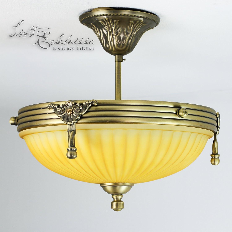 Edle Hängeleuchte in bronze cremefarben Jugendstil inkl. 1x 3W E14 LED 230V Pendelleuchte aus Metall & Glas Hängelampe für Esszimmer Lampe Leuchten innen