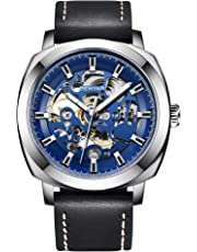 BENYAR Automatic Mechanical Watches for Men Skeleton Black Leather Watch Waterproof Business Men's Wrist Watches Men 5121
