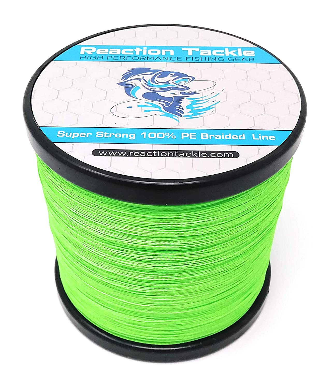 Hi Vis Green 25LB (1000 yards) Reaction Tackle High Performance Braided Fishing Line