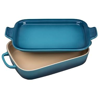 Le Creuset Stoneware Rectangular Dish with Platter Lid, 14 3/4  x 9  x 2 1/2 , Marine