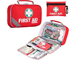 2-in-1 First Aid Kit (215 Piece) + Bonus 43 Piece Mini First Aid Kit -Includes Eyewash, Ice(Cold) Pack, Moleskin Pad and Emer