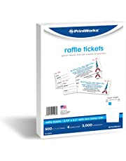 PrintWorks Perforated Paper for Raffle Tickets, Coupons, and More, Tear-Away Stubs, 8.5 x 11, 24 lb, 4 Tickets Per Sheet, 500 Sheets, 2000 Tickets Total, White (04293-1) (2.75 x 8.5)