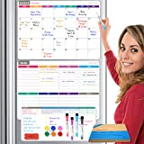 CREKERT Dry Erase Calendar Whiteboard 4in1 3 Magnetic Calendars for Refrigerator, Habit Tracker Monthly Weekly Daily Planner