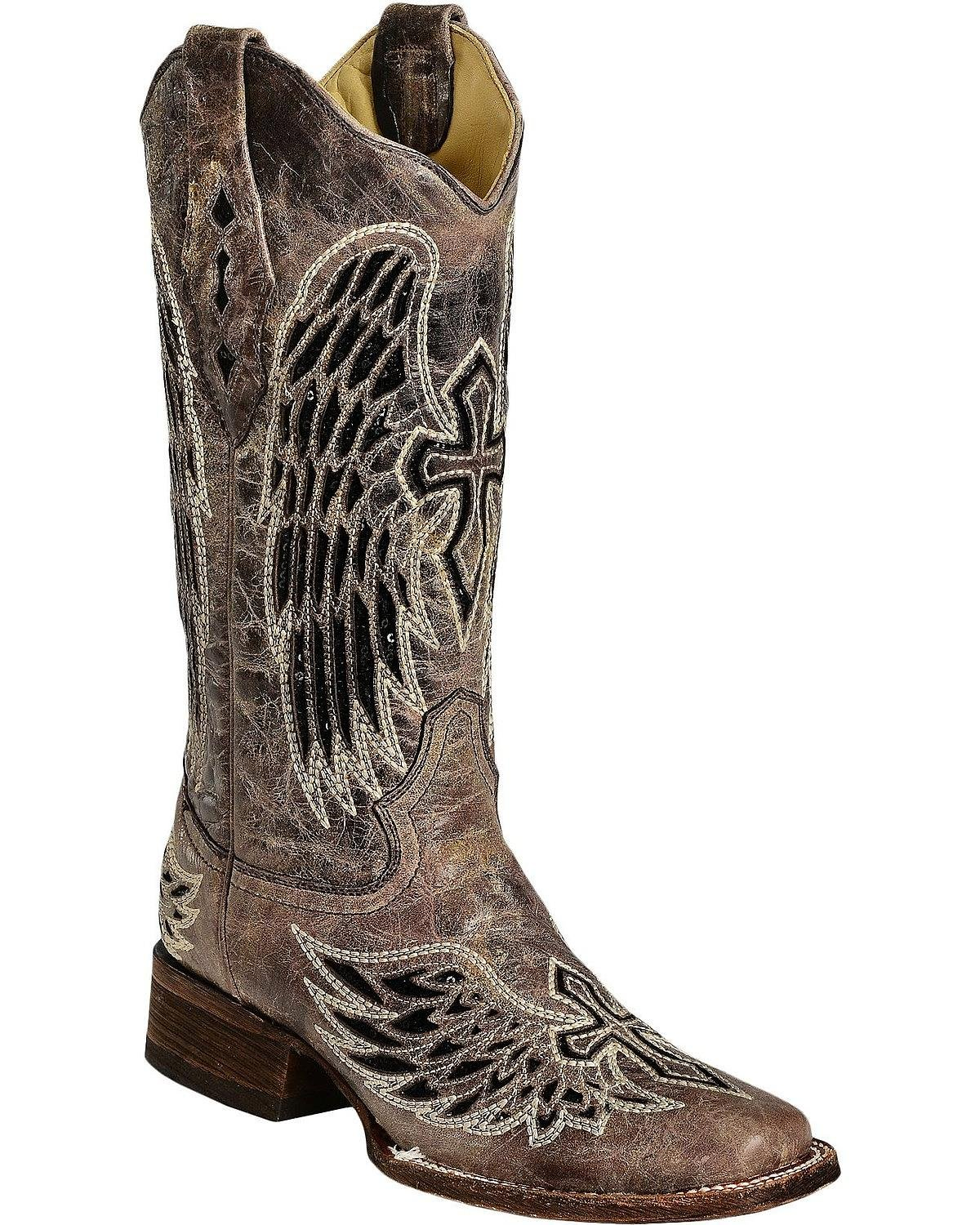 Corral Ladies Wing and Cross Sequin Square Toe Western Boot B00DZ4S47E 9 B(M) US|Black