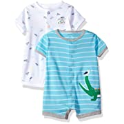 Carter's Baby Boys' 2-Pack Snap-up Romper, Crocodile/Airplanes, 12 Months