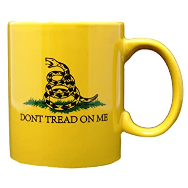 Funny Guy Mugs Don't Tread On Me Ceramic Coffee Mug, Yellow, 11-Ounce