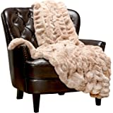 Chanasya Ruched Luxurious Soft Faux Fur Throw Blanket - Fuzzy Plush and Elegant with Reversible Mink Blanket for Sofa Chair C