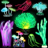 Frienda 8 Pieces Glowing Fish Tank Decorations Plants with 2 Style Glowing Kelp, Sea Anemone, Simulation Coral, Jellyfish, Lo