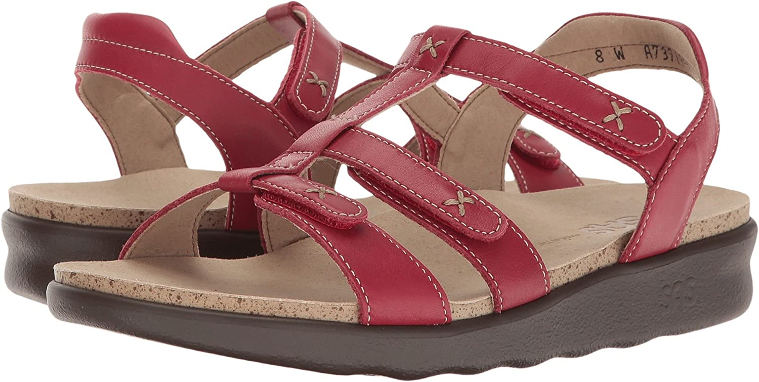 SAS Womens Sorrento Leather Open Toe Casual Slingback Sandals B01N2YHCDX 7 M (M) (B) US|Red