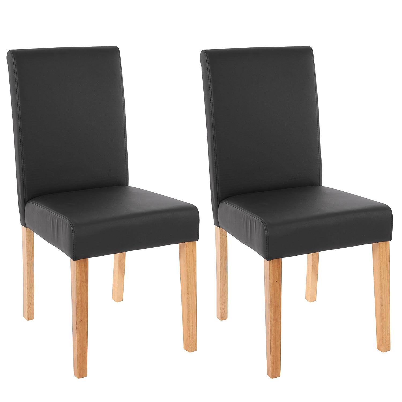 Mendler 2x Esszimmerstuhl Stuhl Lehnstuhl Littau  Kunstleder, schwarz matt, helle Beine