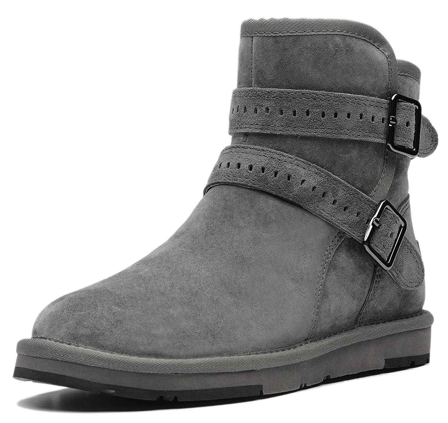 AU&MU Women's Full Fur Sheepskin Suede Winter Snow Boots B073SZXMRZ 7 B(M) US|Grey 1