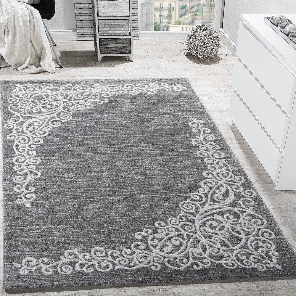 Paco Home Designer Teppich Mit Floral Muster Glitzergarn Grau Weiß Anthrazit Meliert, Grösse 160x220 cm