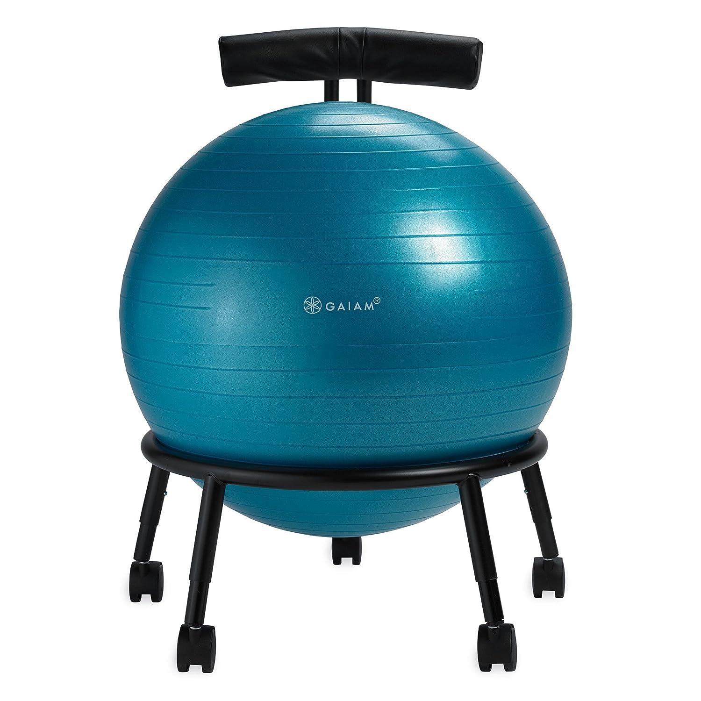 Gaiam Verstellbarer Ballstuhl mit 55 cm Yoga-Ball, Pumpe und Übungsanleitung für zu Hause oder im Büro