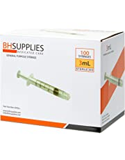 3ml Syringe Sterile with Luer Lock Tip - 100 Syringes by BH Supplies (No Needle) Individually Sealed